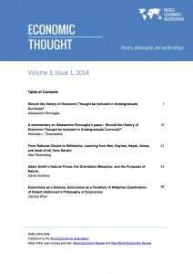 WEA Economic Thought Vol 3, No 1, 2014, cover